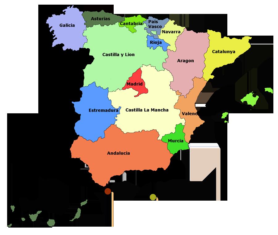 Spanienkarte mit den 17 comunidades autonomicas, Spanien